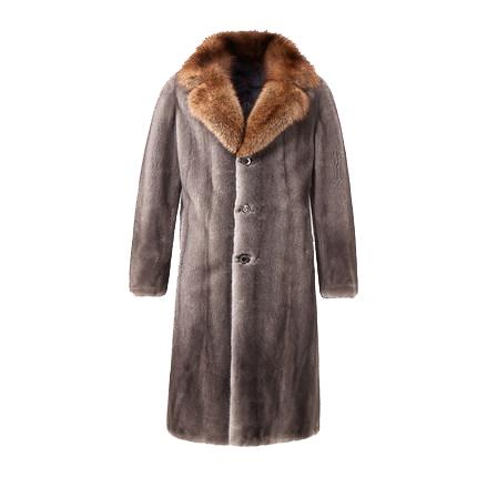 2021 new mink iron gray fishing Mink Collar mink coat mens North American imported whole mink mink fur grass long coat