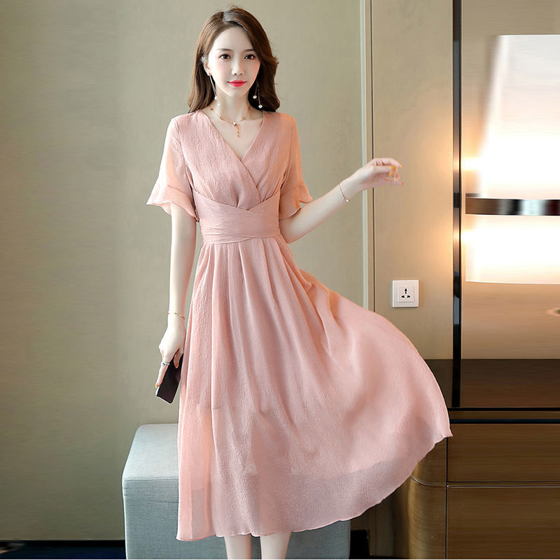Slim waist V-neck skirt 2020 summer fashion fairy chiffon dress fashion