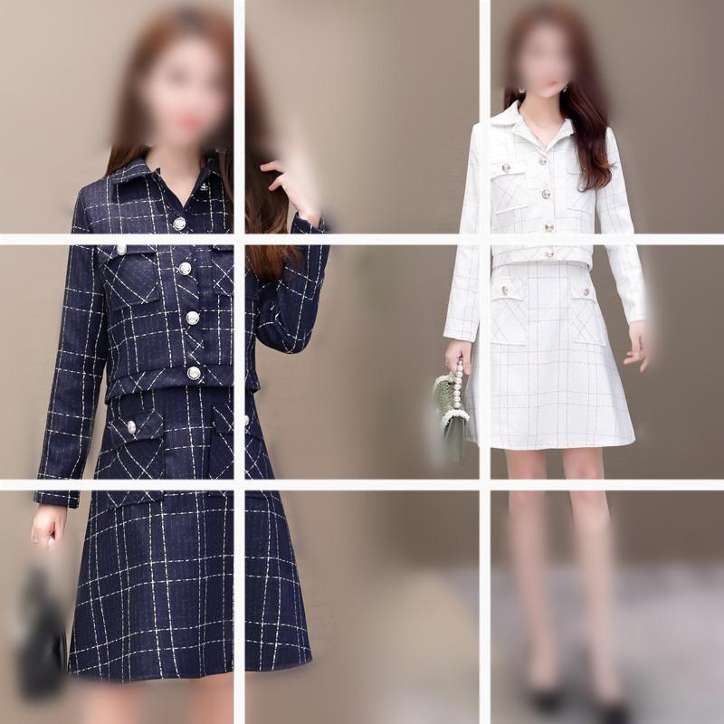 小个子连衣裙2019新款春秋小香风格子短外套显瘦背心a字裙两件套