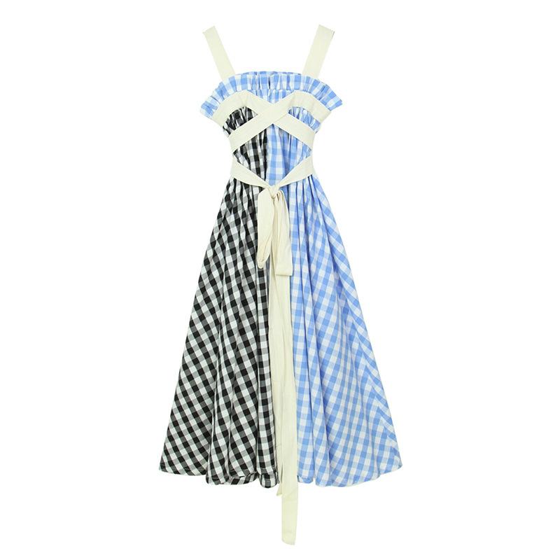 歐美大牌夏季新名媛撞色格子綁帶裹胸大廓型長裙休閑連衣裙女