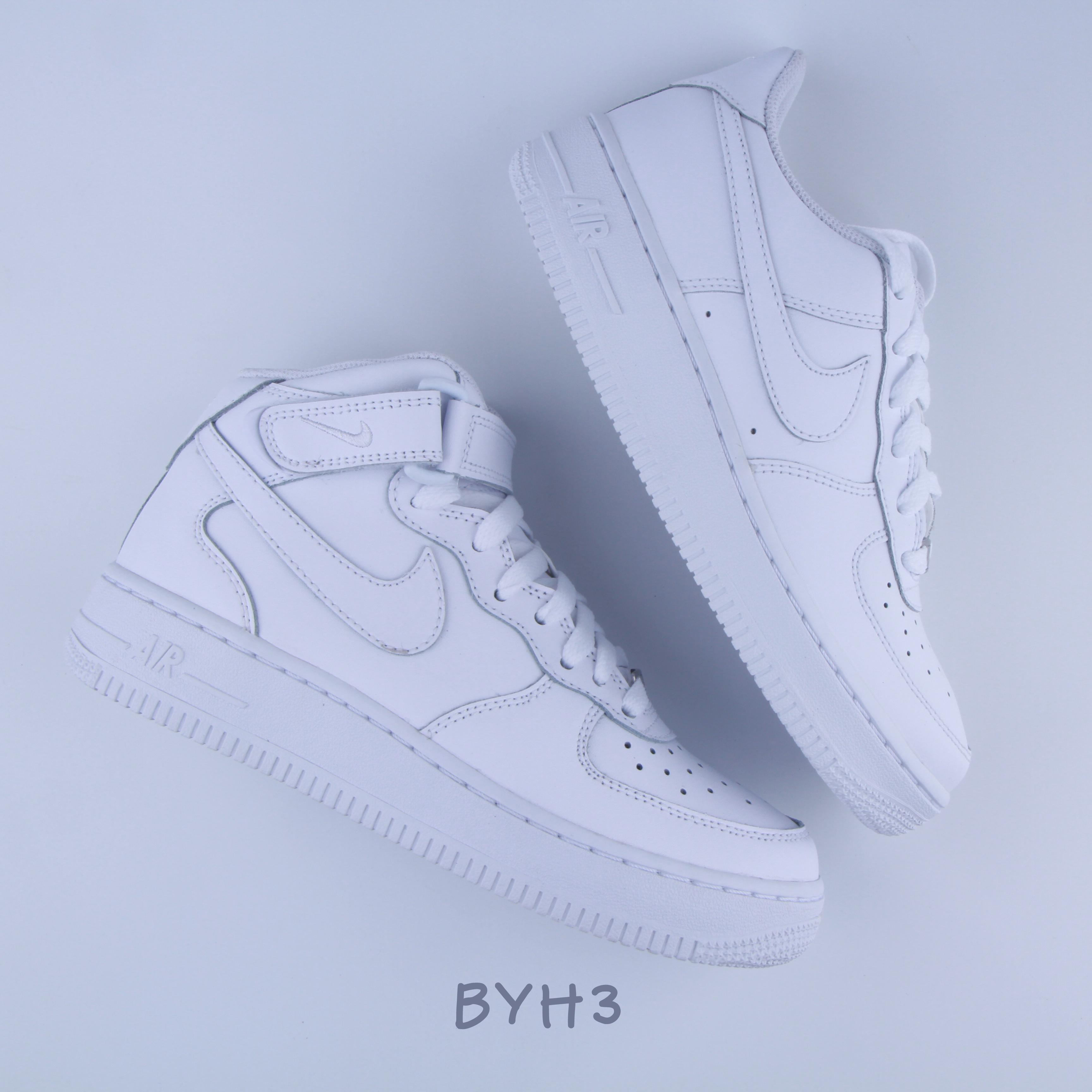 耐克Nike Air Force 1AF1纯白全白空军一号Low Mid女鞋板鞋