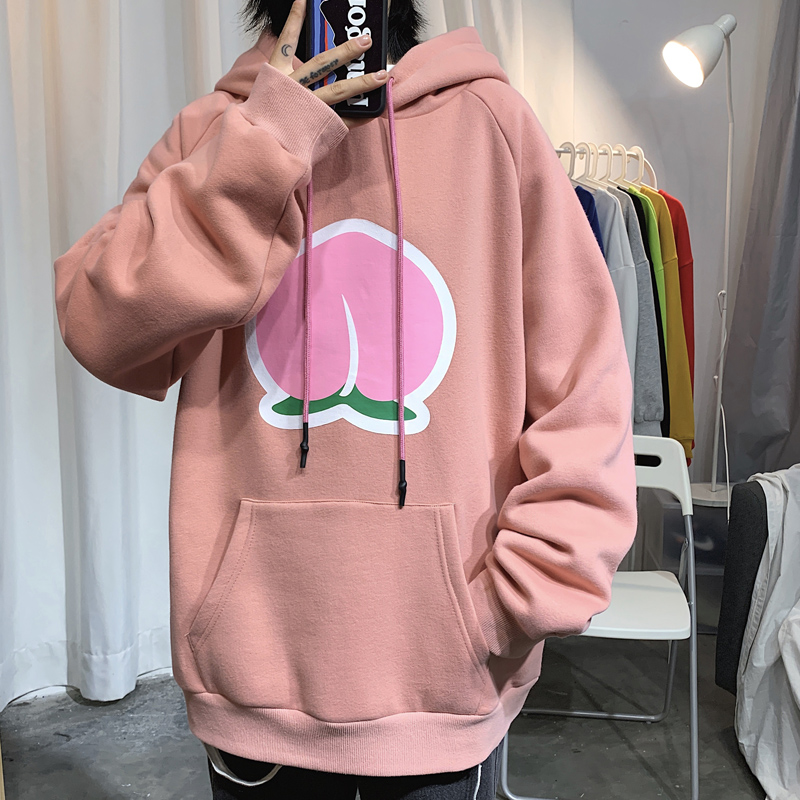 Autumn and winter mens and womens same fruit pattern sports casual loose hooded Pullover Sweater wy05-p55