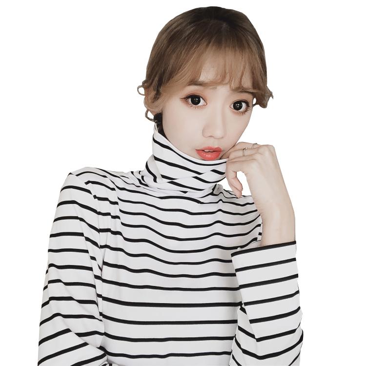 条纹T恤高领打底衫女长袖2019春夏新款修身显瘦针织t恤上衣chic