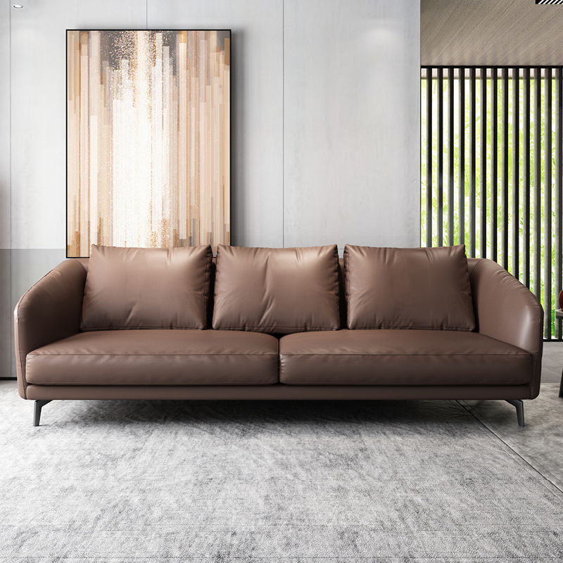 Leather sofa three or four small family Nordic modern real leather down no left or right direction Italian sofa