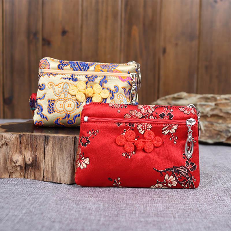 中式复古盘扣旗袍零钱包包女特色创意双拉链手机包中国风刺绣礼品
