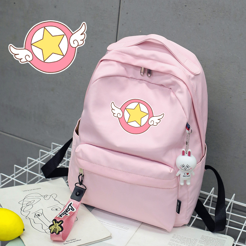 Changeable small cherry double shoulder bag magic card girl cherry girl heart soft girl schoolbag two dimensional lovely pink cute Student Backpack