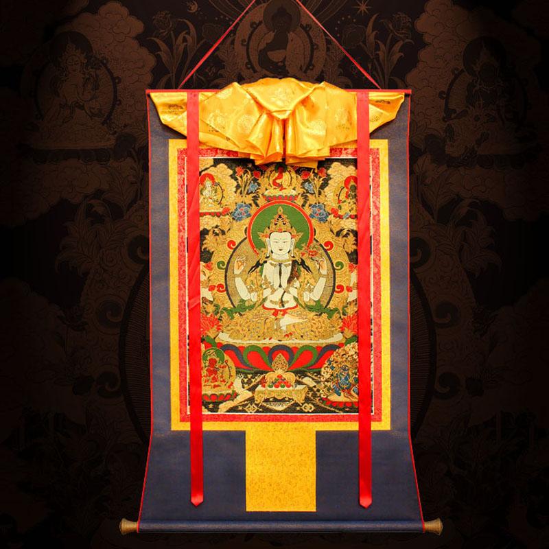 Четыре рука гуань-инь династия тан карта живопись так гостиная вход нигерия причал ваш вышивка городской дом для Бонг тибет стиль близко семья будда так картины