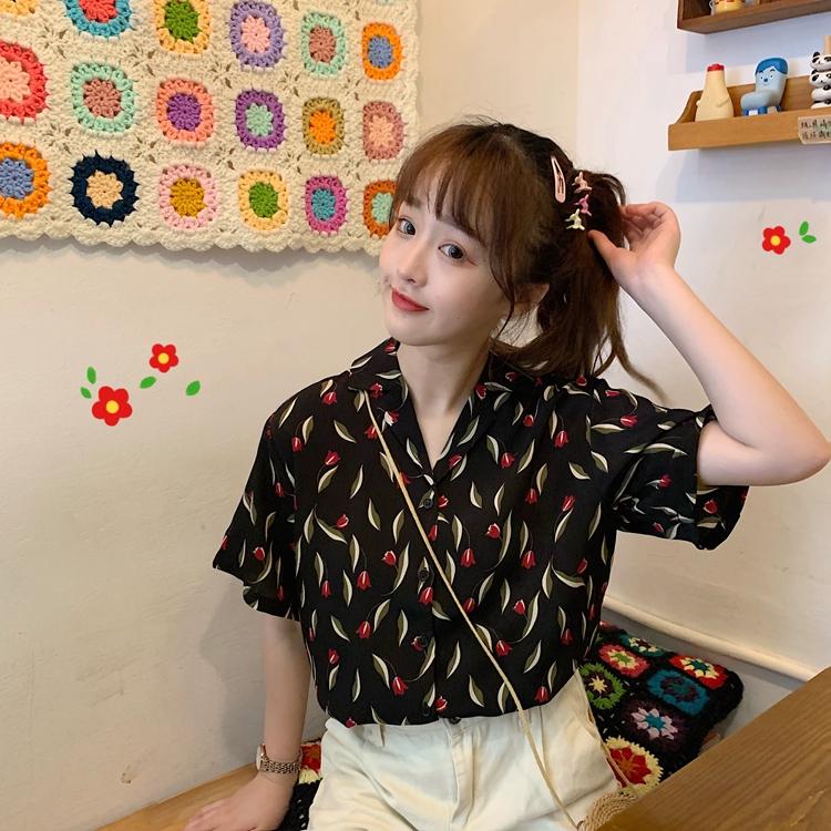 售价不低于35 实拍实价 韩版宽松印花短袖衬衣