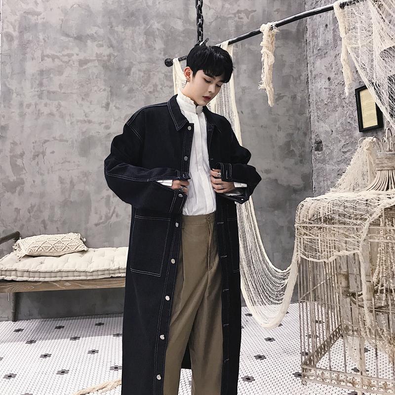 秋冬季设计师新款辑明线长款牛仔风衣潮牌男装单排扣宽松水洗外套