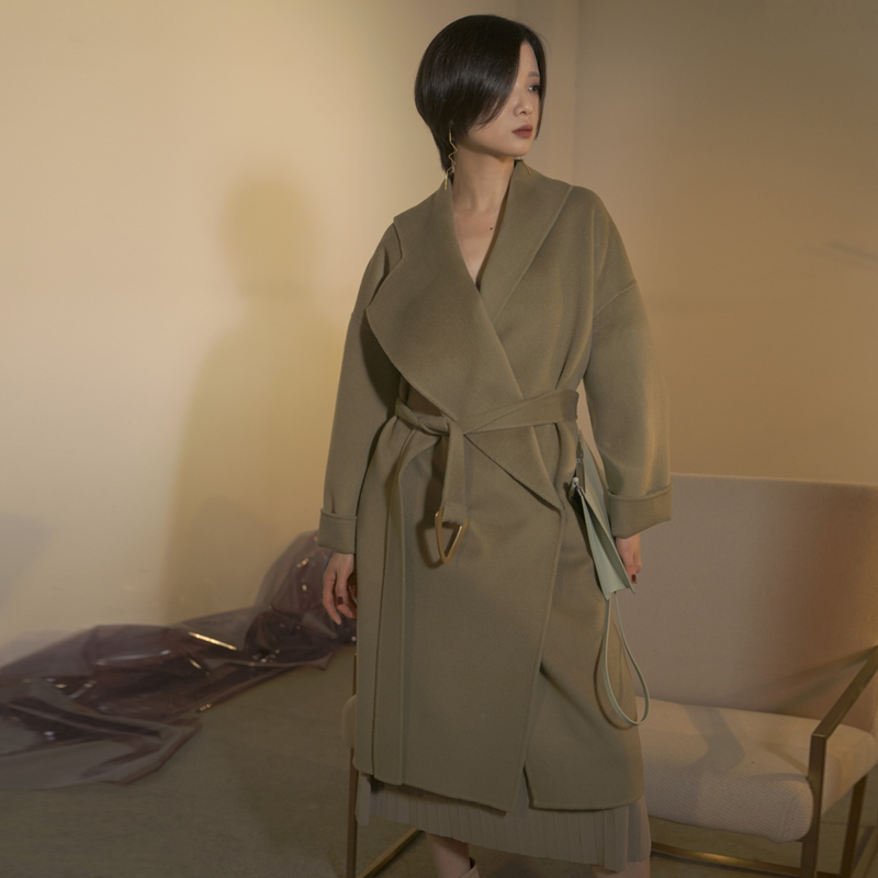 Zhejian pleated designer womens winter double faced tweed triangle metal belt fashion cashmere coat