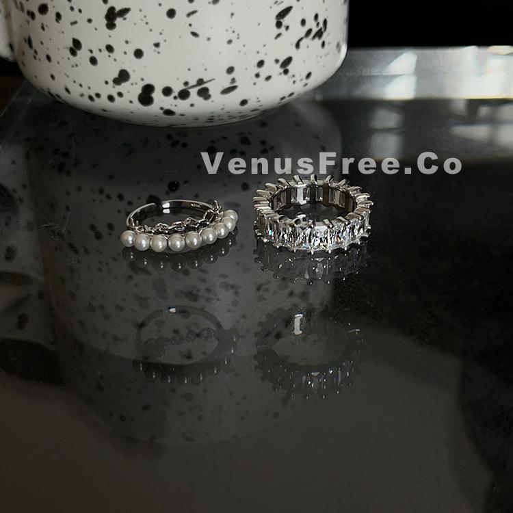 s925纯银叠戴超特别珍珠链条双层戒指/超闪排钻闪大锆石简约甜酷
