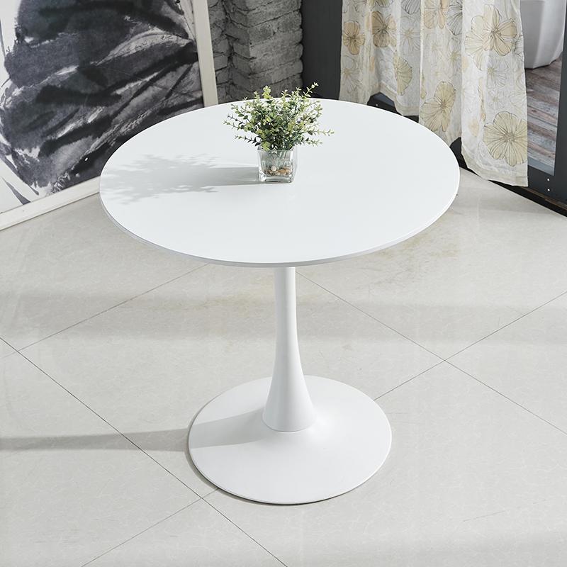 北欧简约圆桌休闲咖啡桌洽谈桌现代白色桌子小圆桌酒店餐桌会议桌