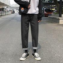 学生牛仔裤男生宽松直筒潮牌网红韩版潮流百搭松紧腰带阔腿长裤子
