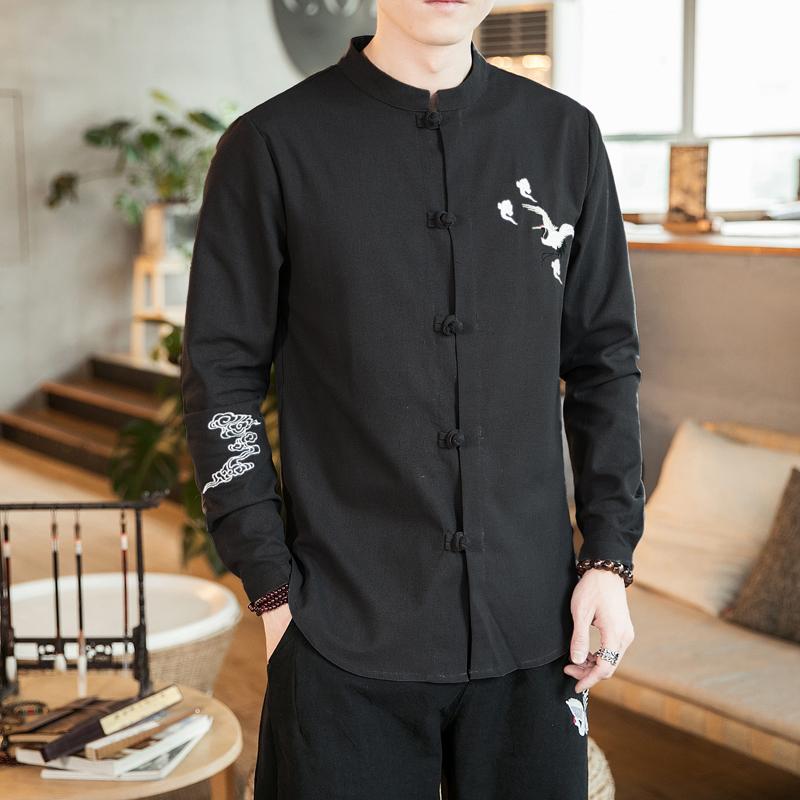 中国风秋仙鹤刺绣盘扣大码长袖衬衫男士衬衣男装复古 CS508 P55