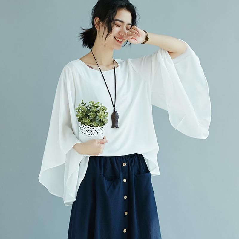 女士新款上衣精品热卖遮肚子衬衫喇叭七分袖棉麻宽松不规则