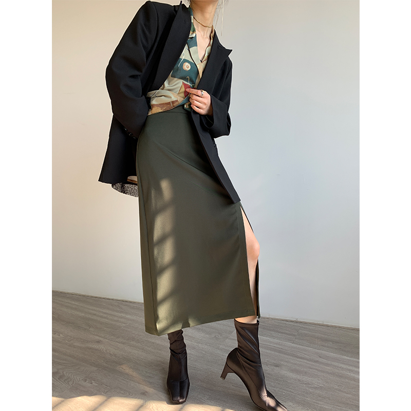 PAPERLLL 三色小性感开叉半身裙 优雅气质修身中长款裙子 thumbnail