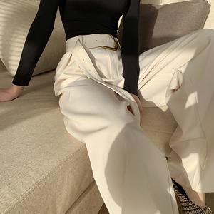 阔腿裤女春款高腰黑垂坠感直筒宽松腰带长裤加厚显瘦裤子2020新款