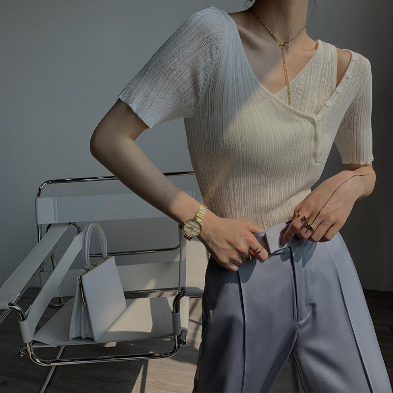 PAPERLLL性感V領冰絲針織衫短袖短款不規則設計感露肩修身上衣女