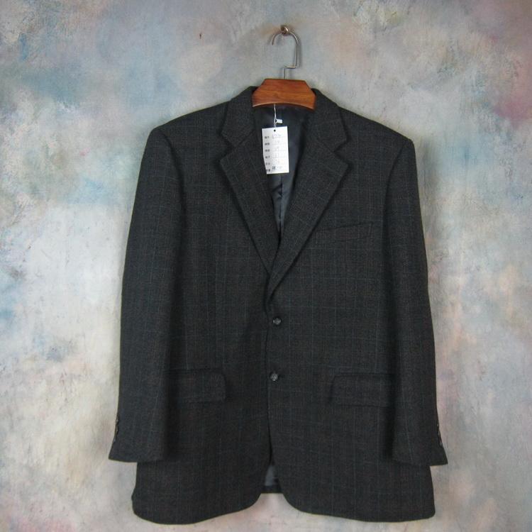 Cashmere blended bellumore British gentlemans suit woolen Plaid tailoring casual suit dark grey e734