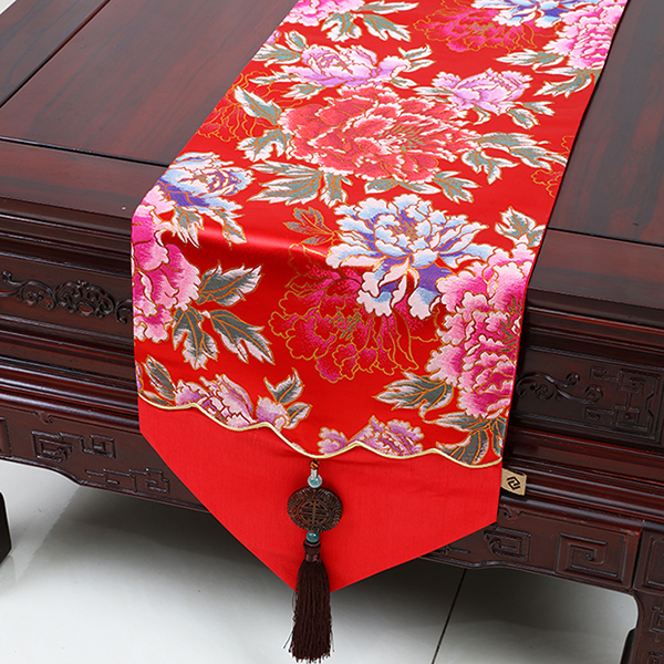 中式玉佩时尚简约田园餐桌桌旗桌布茶几布艺床旗台布锦缎桌布定制