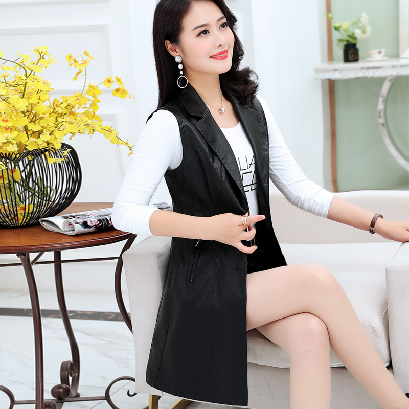 Middle aged and old womens leather clothes autumn sleeveless vest medium length leather skirt windbreaker middle aged womens mothers leather jacket coat