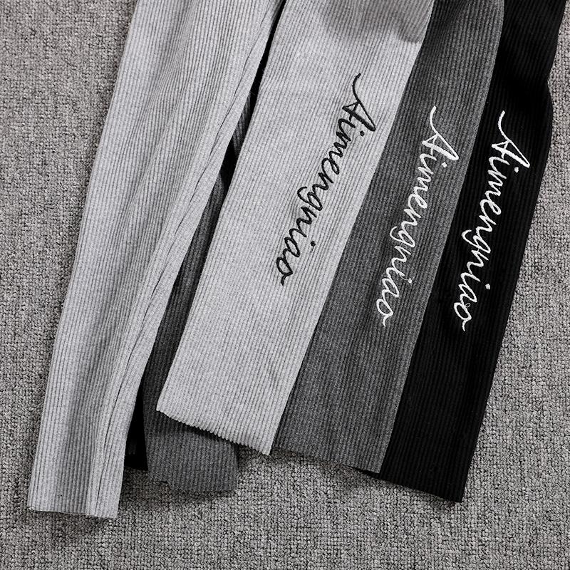 19.90元包邮灰色螺纹打底裤女外穿秋裤条纹加绒加厚秋冬季紧身显瘦保暖长裤子