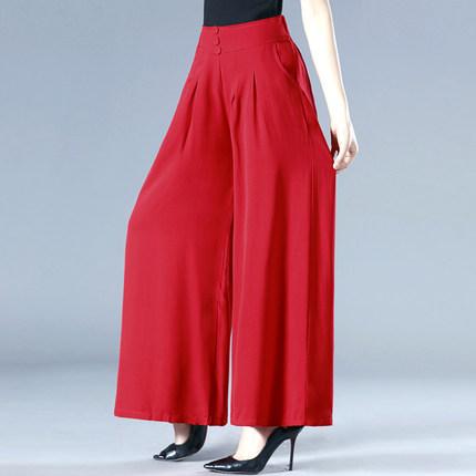 夏季女装阔腿裤高腰垂感妈妈裙裤宽松大码显瘦长裤中老年广场舞裤