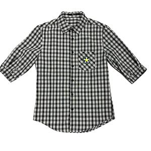 黑白格子衬衫男短袖夏季休闲男士
