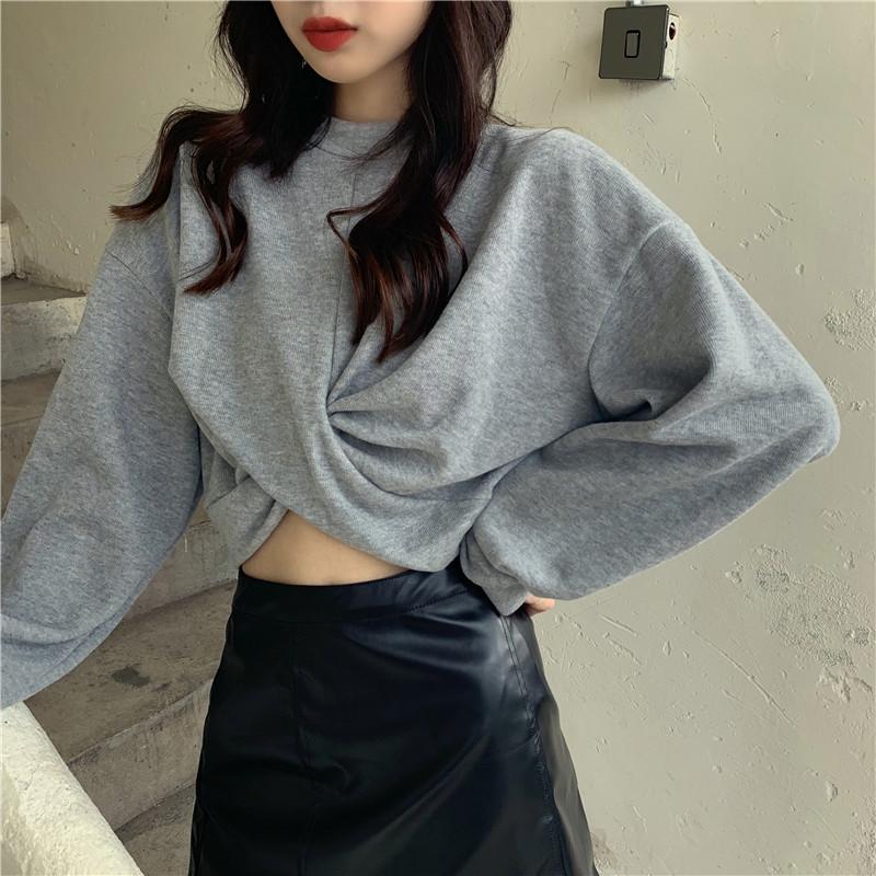 2020夏季新款韩版时尚宽松纯色圆领长袖上衣短款露脐卫衣女潮ins