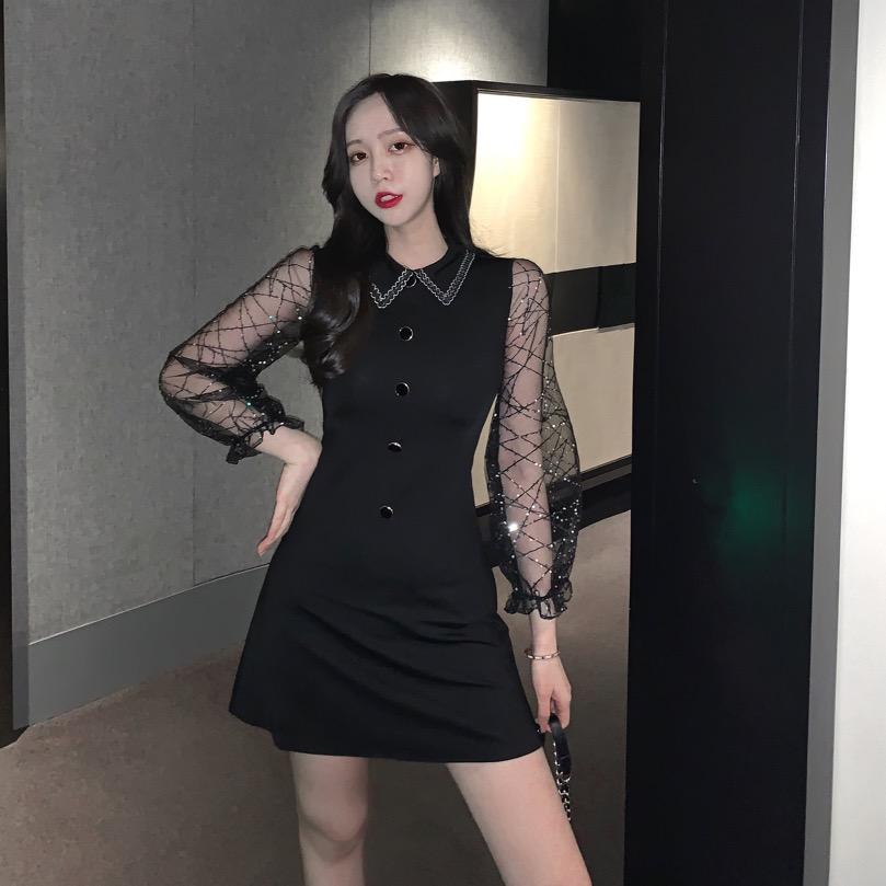 (用5.22元券)时尚新款2019韩版潮翻领气质修身显瘦纯色拼接蕾丝华丽短款连衣裙