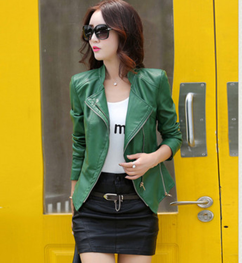 Short leather womens spring and autumn new all-around motorcycle small coat Haining large slim leather jacket womens top