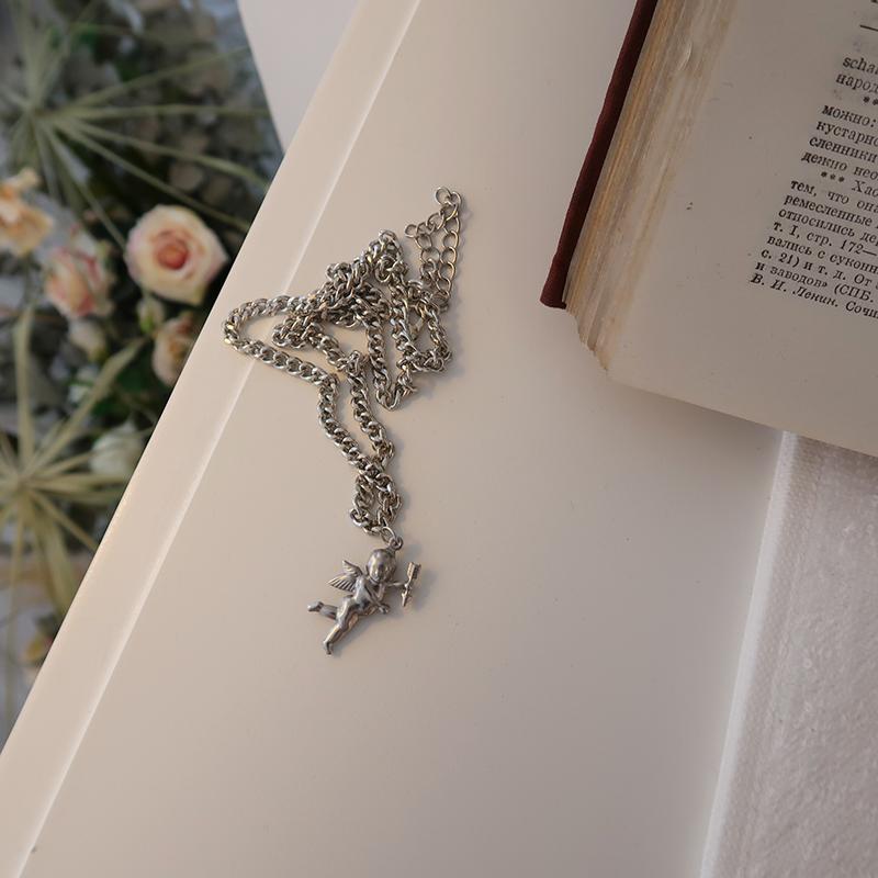 DT的店 超仙 冷淡风北欧复古银色祈祷天使丘比特宝宝锁骨链项链女