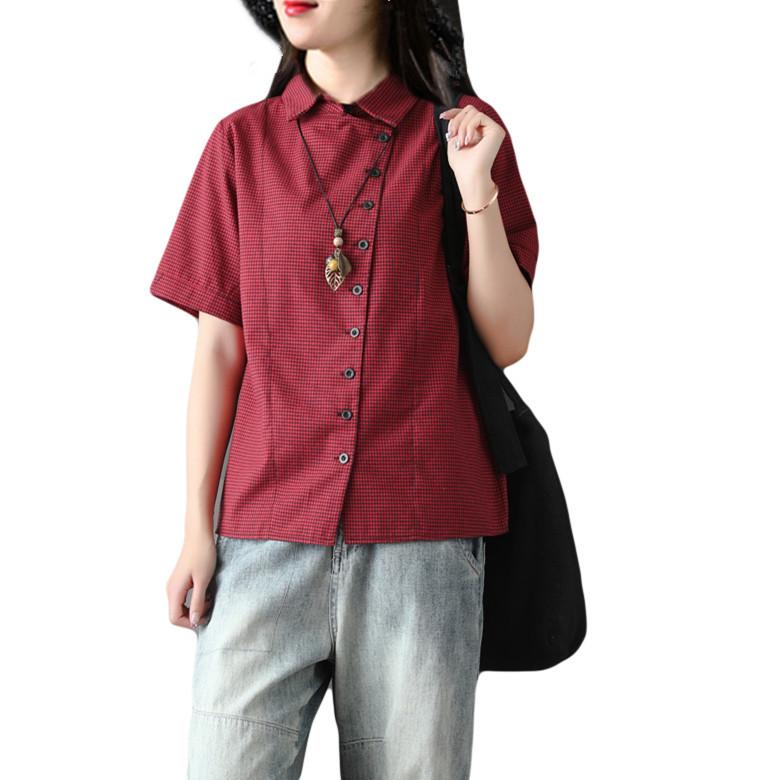 大码女装复古文艺千鸟格棉麻衬衫斜襟长袖百搭衬衣格子打底衫上衣