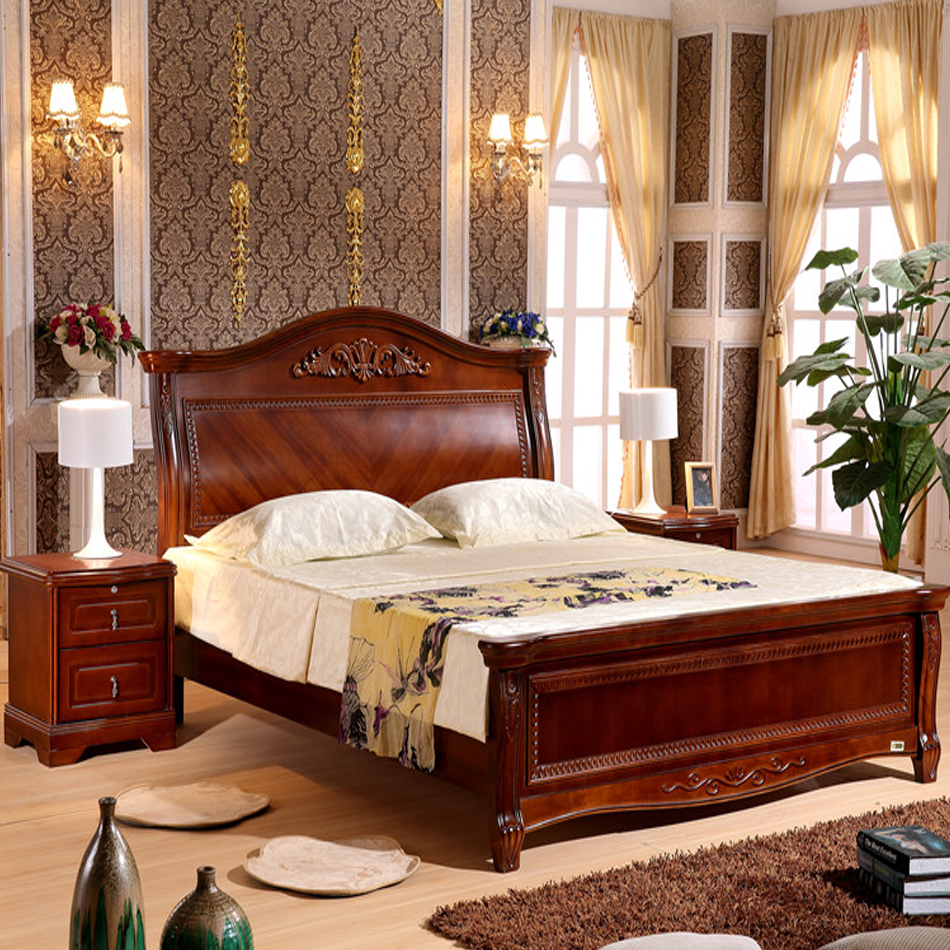 New European solid wood bed Chinese large bed oak bed 1.5m high box storage 1.8m double brand bed