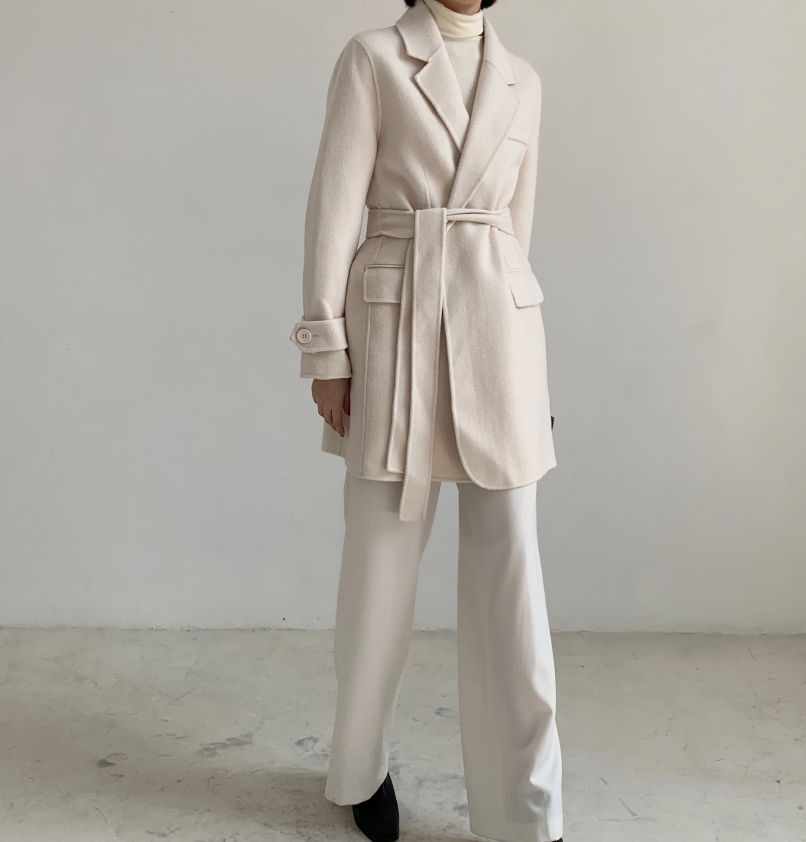 Off season special and versatile lace up cashmere jacket double side hand sewn overcoat OEM
