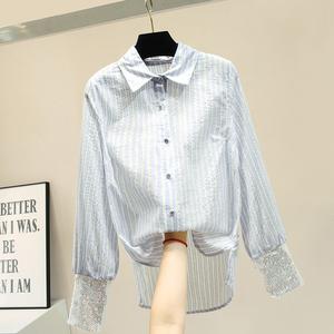 竖条纹雪纺衬衣女2021夏重工长袖亮片法式小众洋气修身打底衫上衣