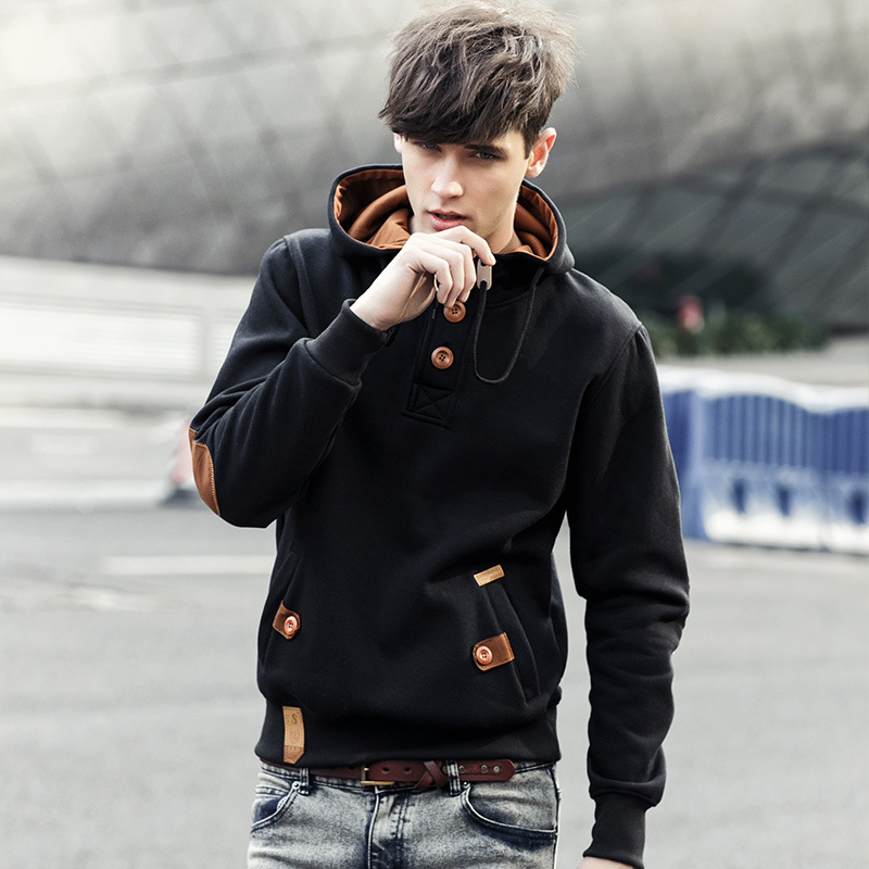 Fashion brand hot mens Hooded Sweater casual solid color sweater jacket youth Hoodie Amazon sweater
