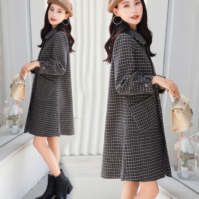 Thousand bird Plaid woolen coat womens autumn / winter 2019 Korean large loose woolen medium long Cape plaid coat