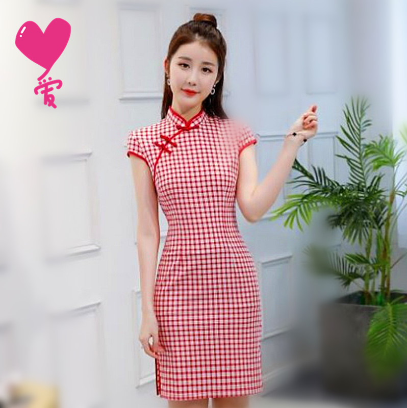 New literature and art products womens summer improved linen cotton plaid cheongsam dress shows thin and short Chinese style Tang dress