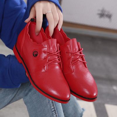 红色皮鞋女2019春秋新款平底单鞋纯真皮内增高平跟女士休闲小皮鞋