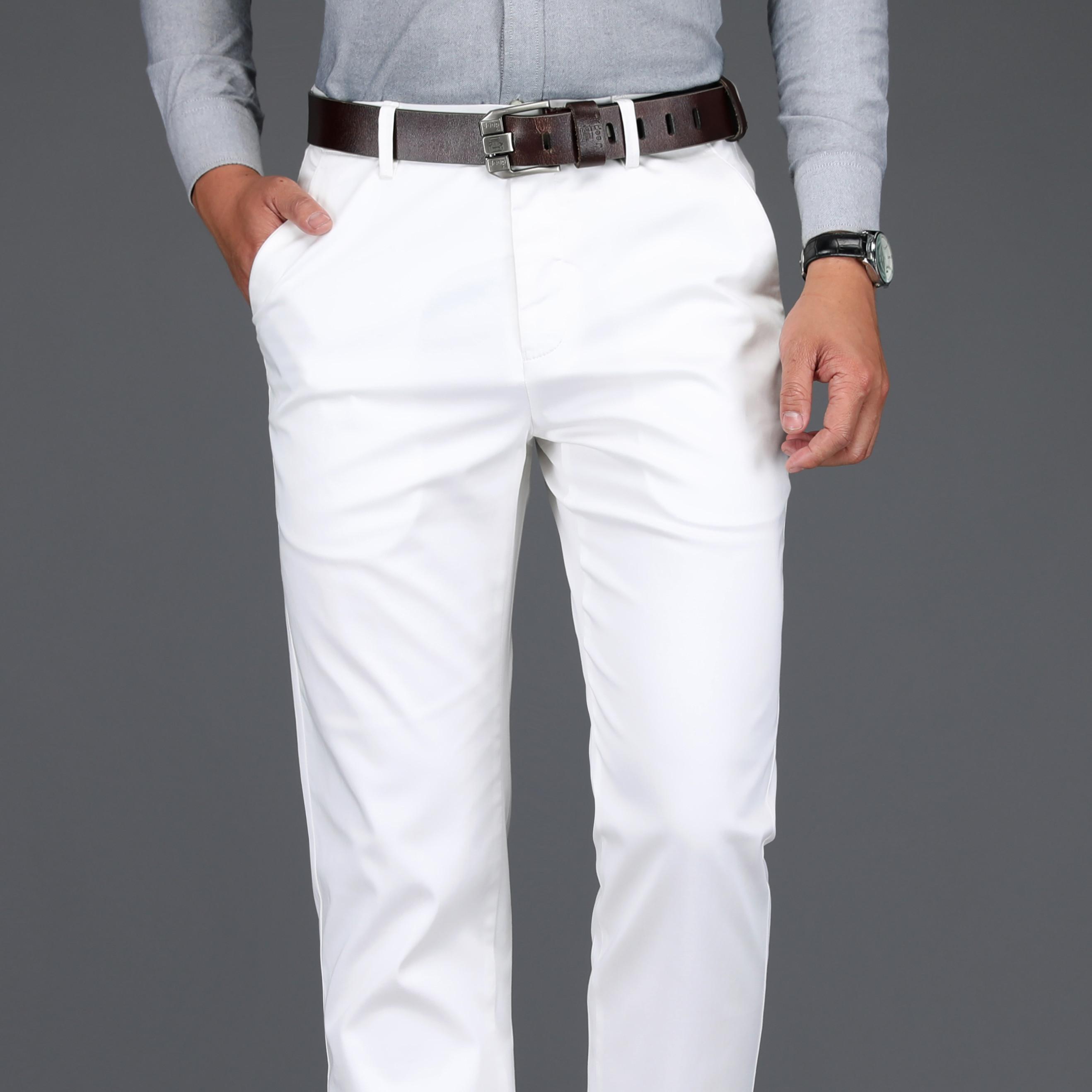 假一赔十纯白色春夏季商务男裤冰丝棉宽松免烫直筒中年男士休闲裤薄款长裤