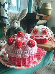 草莓蛋糕包包手织毛线针织自制束口包diy材料包编织 成品 材料包