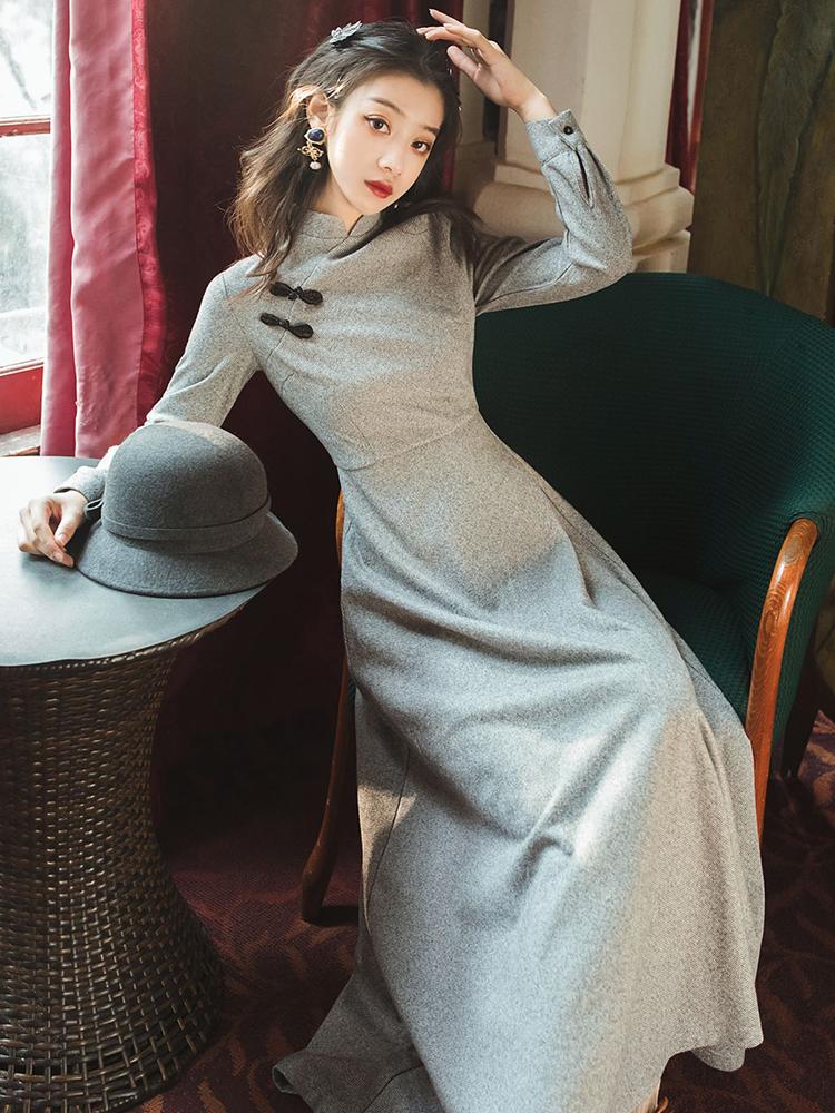 复古中国风旗袍改良版连衣裙女秋冬装内搭长款气质配大衣的长裙子