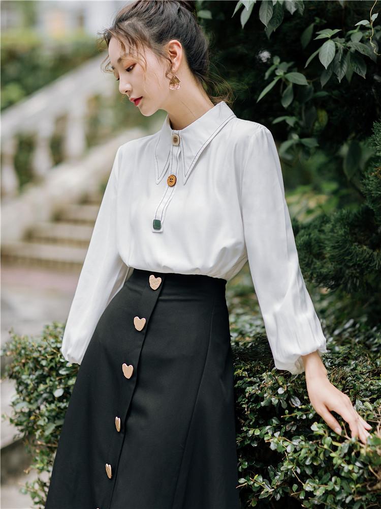 小清新套装法式少女衬衫上衣气质半身裙减龄法国小众两件套洋气 thumbnail