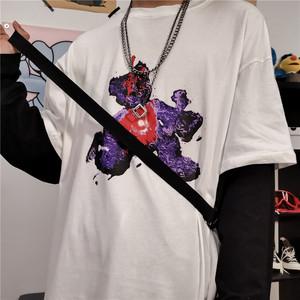 控价35~亚博娱乐平台入口实价 INS复古暗黑假两件小熊印花拼接打底长袖T恤男女