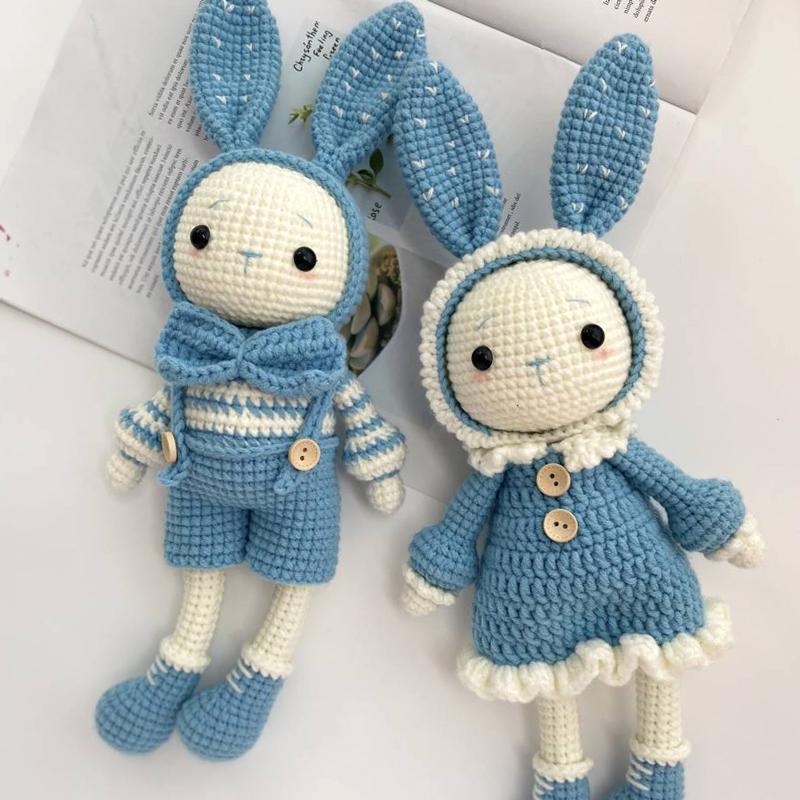 小七家 鉤針編織毛線玩偶材料包 diy手工制作自制情侶兔子禮物