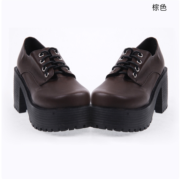 New product of 2017 Lolita shoes Cosplay lace up student high heels thick sole muffin slope heel punk shoes