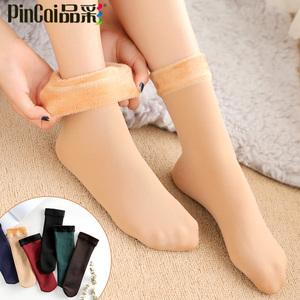 秋冬季雪地肉色袜子女中筒光腿加绒加厚短袜丝袜漏露脚踝神器肤色