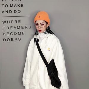 领10元券购买hipa单品白色卫衣外套女秋拉链开衫连帽宽松薄款ulzzang丧系衣服