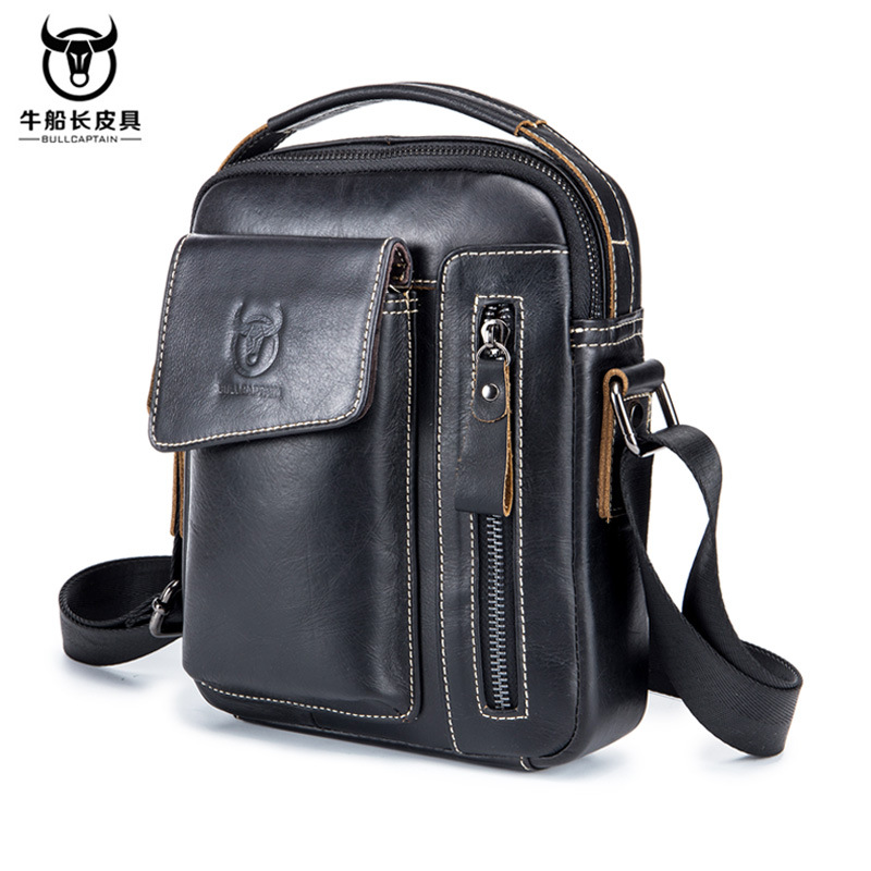 Genuine top leather mens one shoulder crossbar sports leisure business bag leather vertical portable backpack